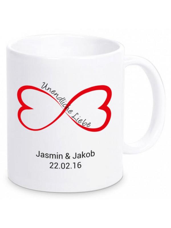 Tasse unendliche liebe mit namen datum geschenk24 for Kindersessel mit namen
